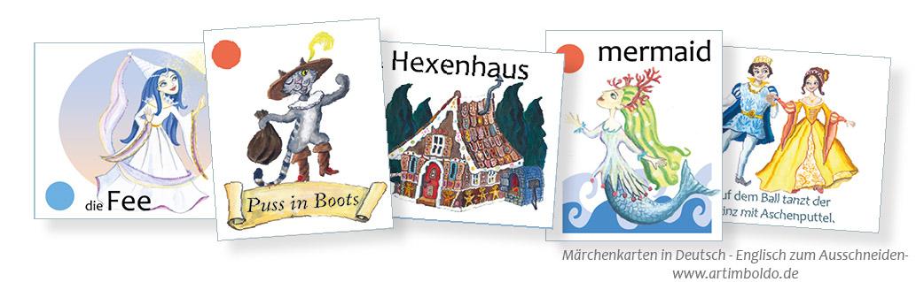 Märchenkarten zum Ausschneiden in Deutsch - Englisch www.artimboldo.de