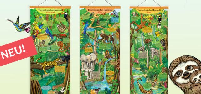 Tiere im tropischen Regenwald von Südamerika – Lernposter für Kinder, Schule und Klassenraum